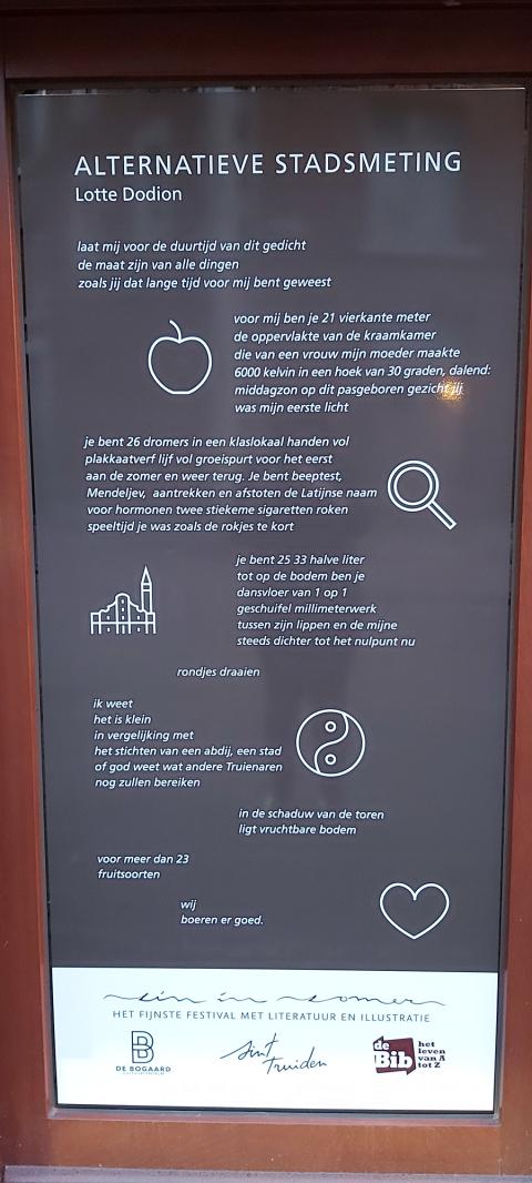 Raamsticker gedicht Lotte Dodion